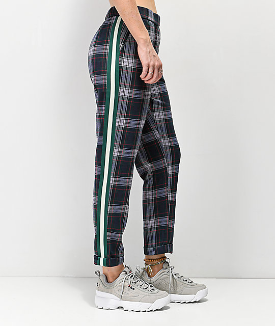 Almost Famous Green Plaid Side Stripe Crop Pants