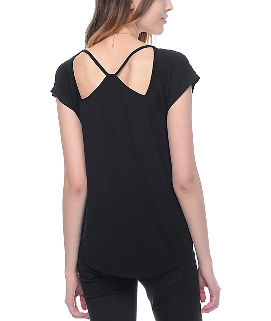 Almost Famous Haydee Shoulder Cut Out Black Top