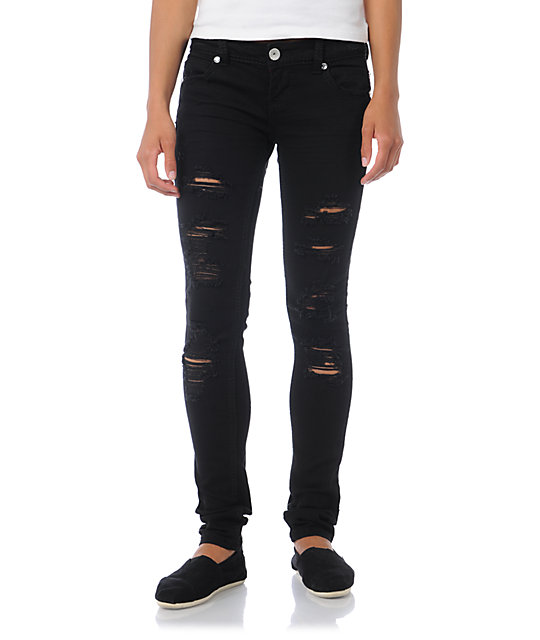 Almost Famous Jana Distressed Black Skinny Jeans
