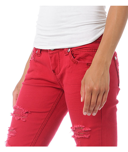 Almost Famous Jana Distressed Crimson Red Skinny Jeans