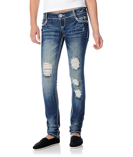 Almost Famous Janelle Medium Blue Skinny Jeans