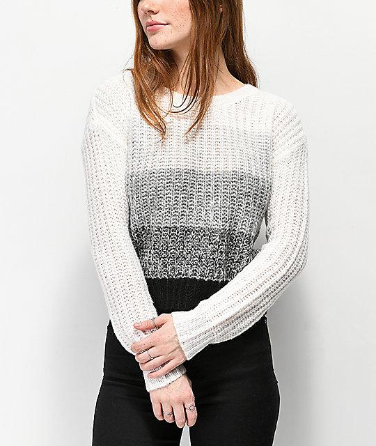 Almost Famous Jess Black White Grey Striped Sweater Zumiez