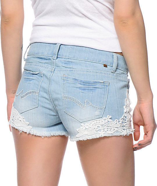 Almost Famous Kara Crochet Light Wash Denim Cut Off Shorts