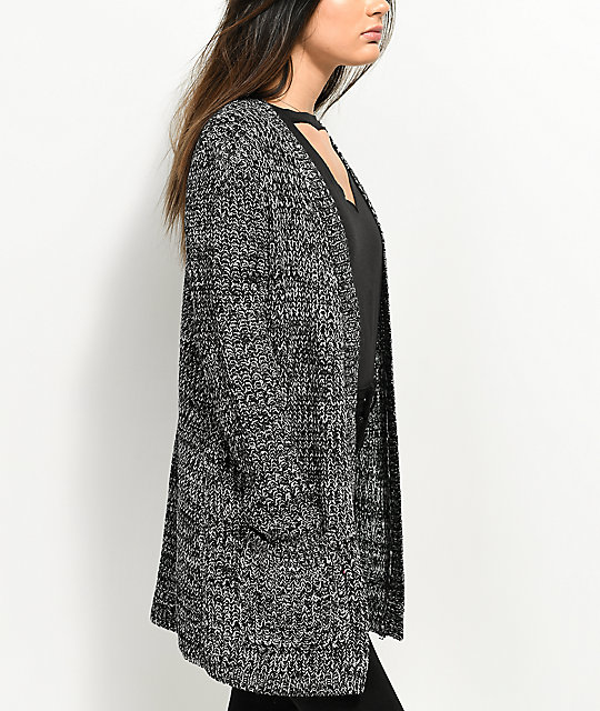 Almost Famous Keli Back Lace Up Black & White Cardigan