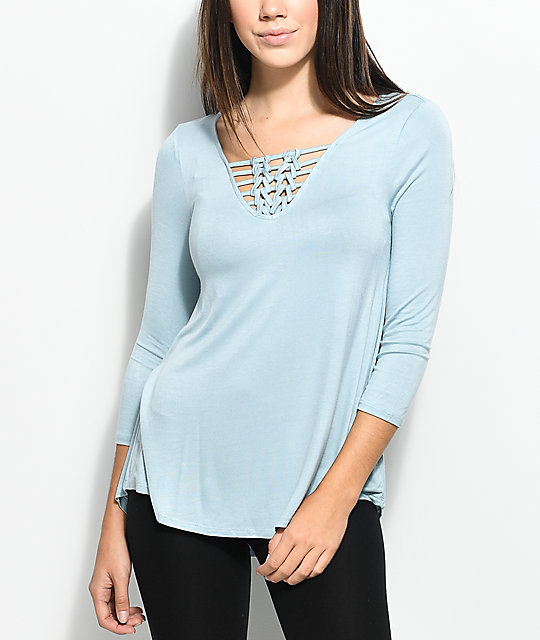 Almost Famous Kiki Macrame Blue Top