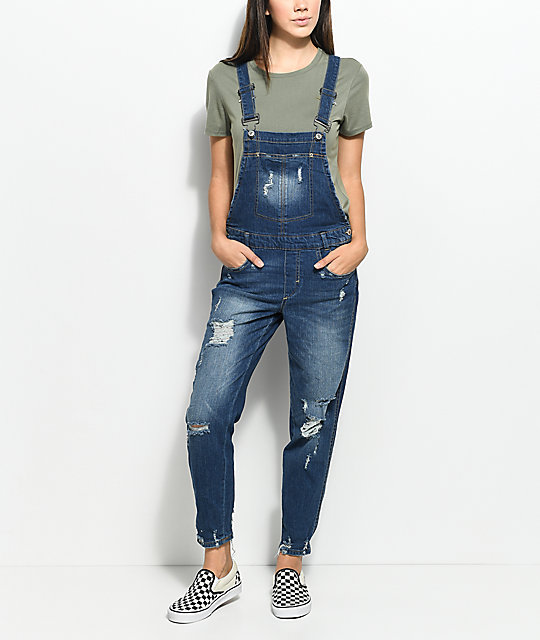 best sneakers footwear buy popular Almost Famous Krisa Ripped Boyfriend Dark Blue Overalls