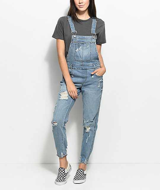 Almost Famous Krisa Ripped Boyfriend Medium Blue Overalls