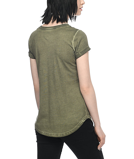Almost Famous Lannie Ew Lace Up Olive T-Shirt