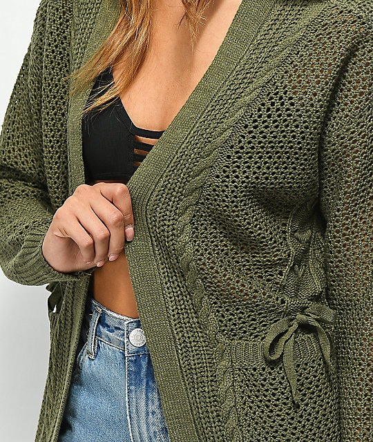 Almost Famous Lari Lace Up Olive Cardigan