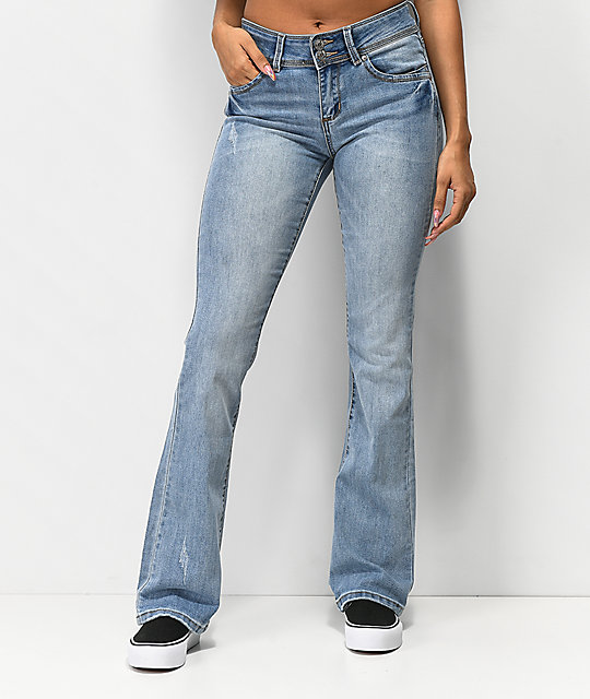 ad1156d38d8c Almost Famous Light Wash Flare Jeans Zumiez. 70s Mid Rise Flare Jeans In  Wash