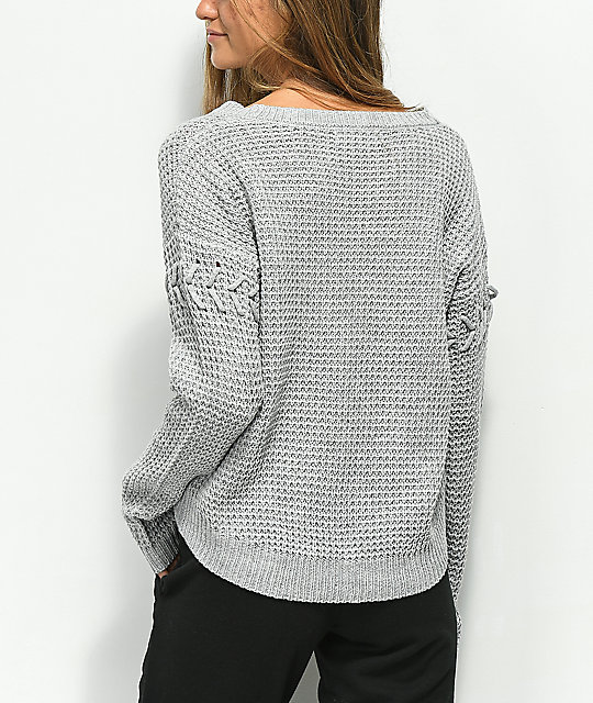 Almost Famous Mari Cable Knit Grey Sweater