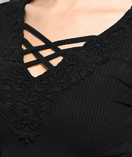 Almost Famous Maura Lace Black Top