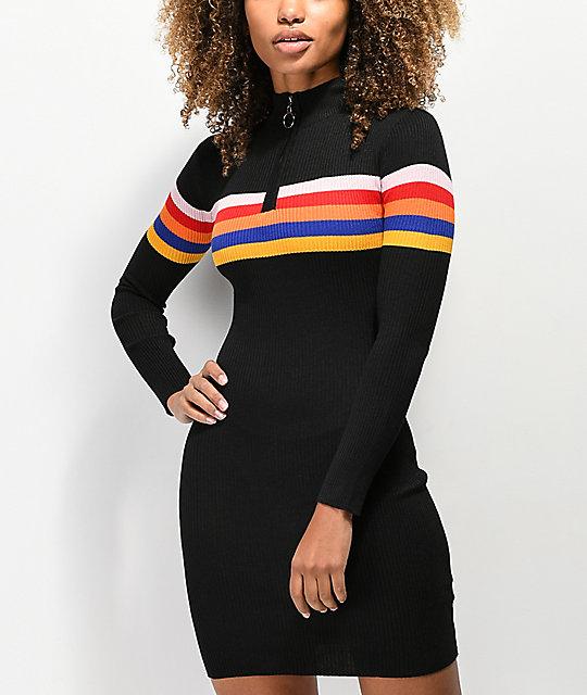 aa8c4f754bed1 Almost Famous Multi-Stripe Black Sweater Dress | Zumiez