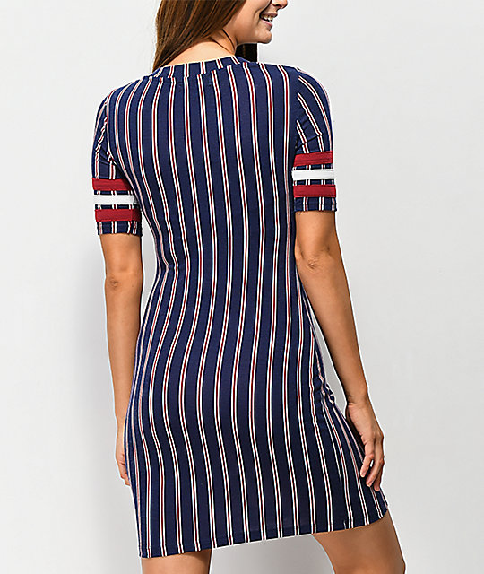 Almost Famous Navy, Red & White Stripe Dress
