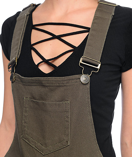 Almost Famous Olive Cross Back Overalls