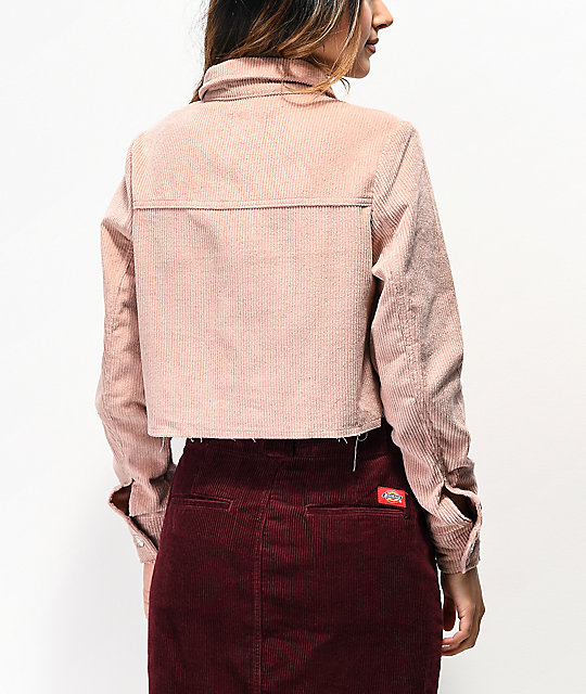 Almost Famous Pink Corduroy Crop Jacket