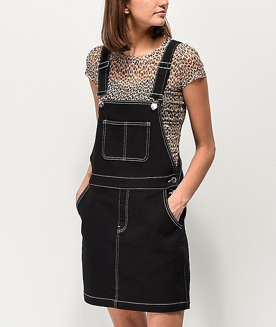 Almost Famous Pop Stitching Black Denim Overall Dress