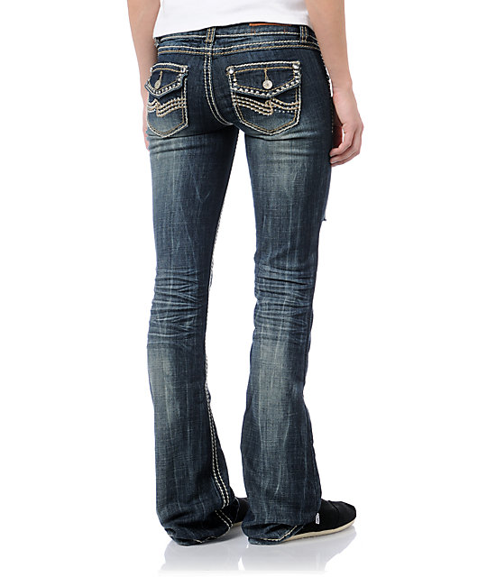 Almost Famous Porsha Dark Blue Distressed Bootcut Jeans