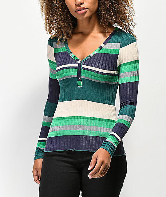 Almost Famous Sandra Rib Stripe Pine Henley Top