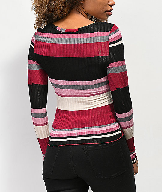 Almost Famous Sandra Rib Stripe Wine Henley Top
