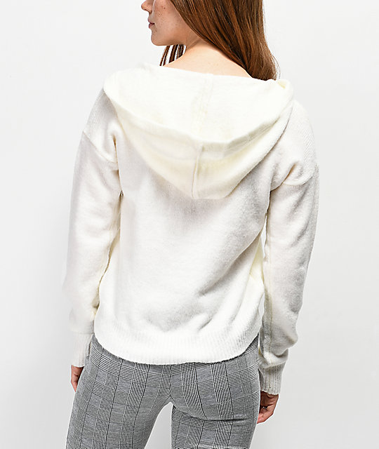 ... Almost Famous Sandy Lace Up Ivory Hooded Sweater ... dc5588e0d