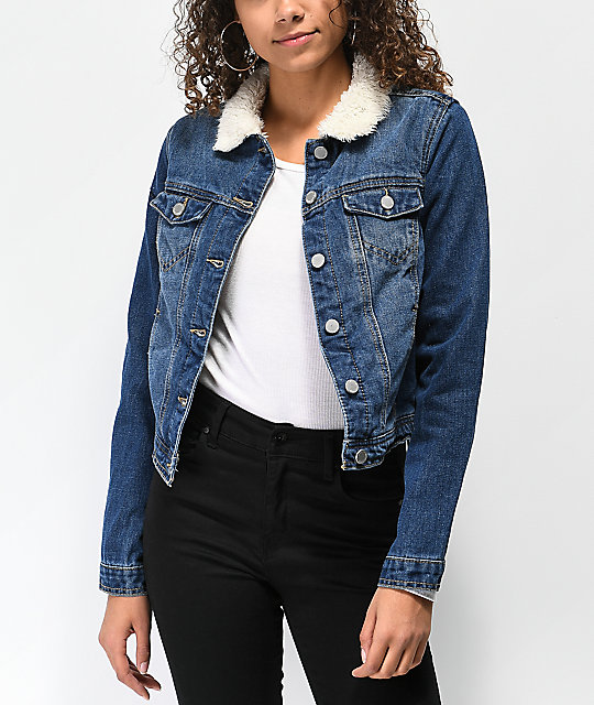 Almost Famous Sherpa Lined Blue Denim Jacket