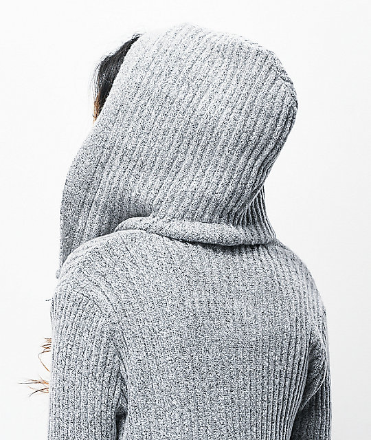 Almost Famous Sherpa Lined Grey Hooded Cardigan