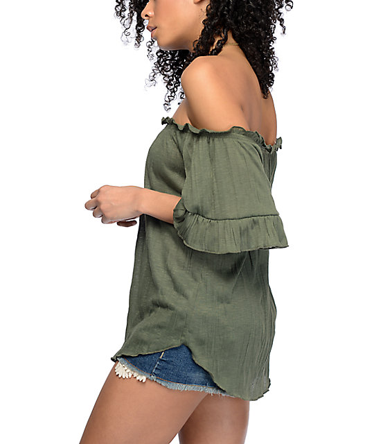 b39bd2e138923e ... Almost Famous Sloan Off The Shoulder Olive Top ...