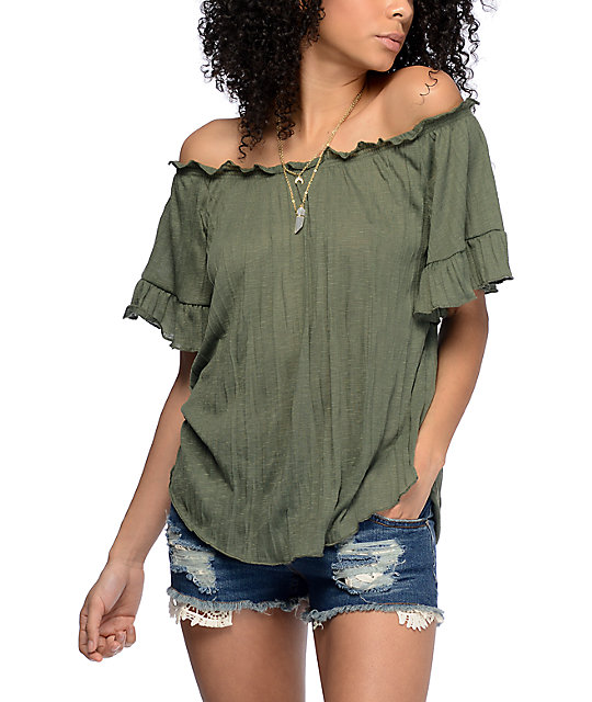 eabc37f628c98c Almost Famous Sloan Off The Shoulder Olive Top