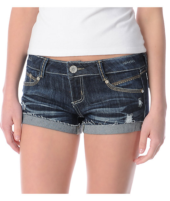 Almost Famous Stacey Blue Cut Off Shorts