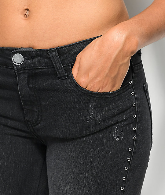 Almost Famous Studs Washed Black Skinny Jeans