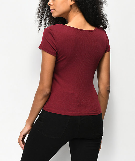 Almost Famous Taylor Ribbed Burgundy Rouched Top