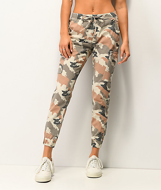 Almost Famous Terracotta Camo Cargo Jogger Pants