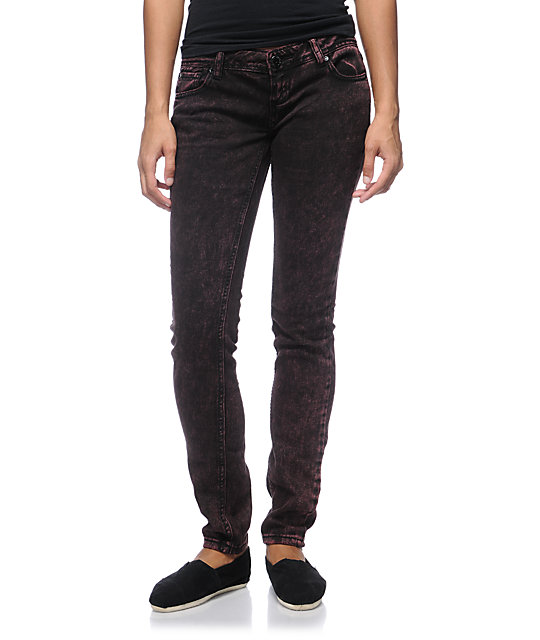 Almost Famous Terry Red Acid Wash Skinny Jeans