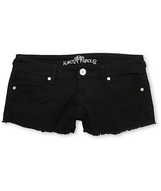 Almost Famous Tracy Black Color Denim Cut Off Shorts