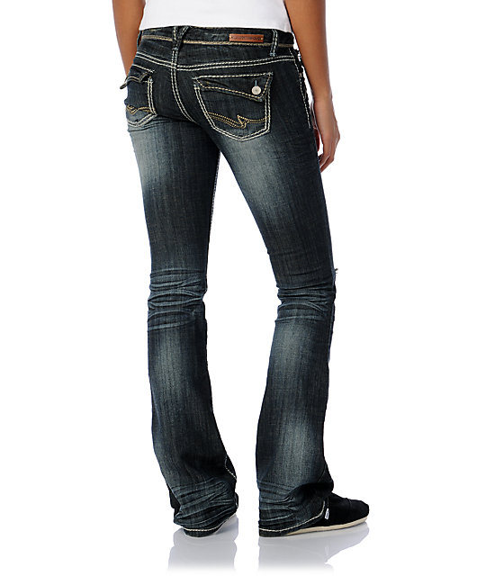 Almost Famous Trisha Dark Blue Bootcut Jeans