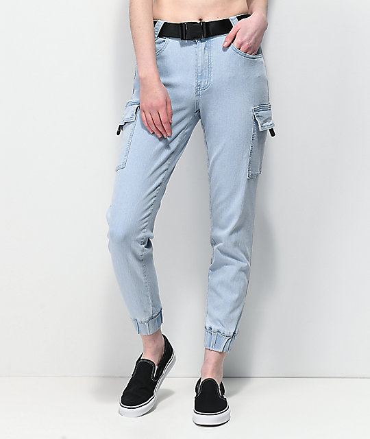 Almost Famous Utility Belted Light Wash Denim Jogger Pants