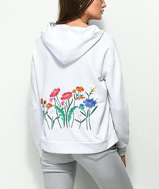 Almost Famous White Embroidered Hoodie