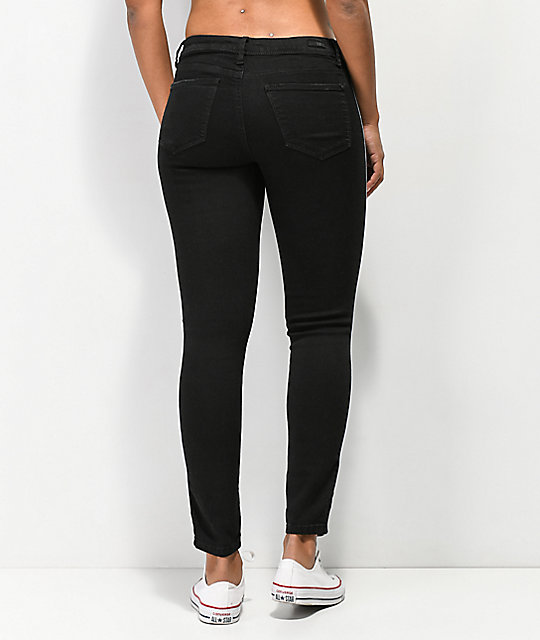 Almost Famous jeans negros ajustados con rayas laterales