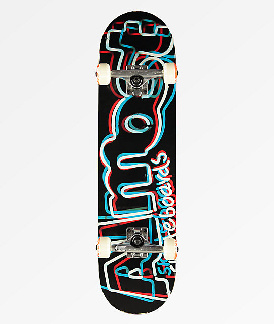 "Almost Neon Sign 7.625"" completo de skate blanco y negro"