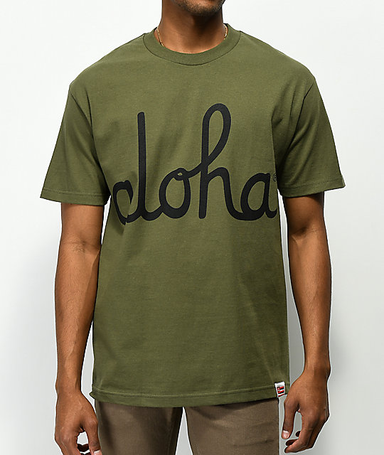 Aloha Army Logo Script Military Green T-Shirt  d54e45cf51b