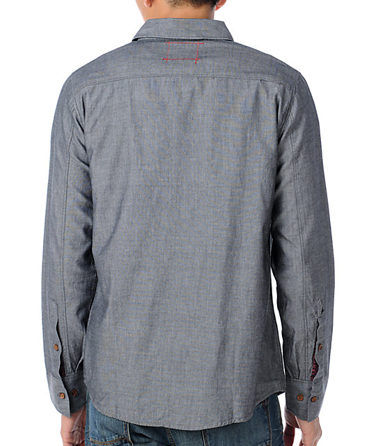Altamont Franklin Mens Blue Long Sleeve Solid Woven Shirt