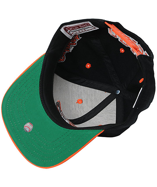 American Needle Orioles Arched Black Snapback Hat