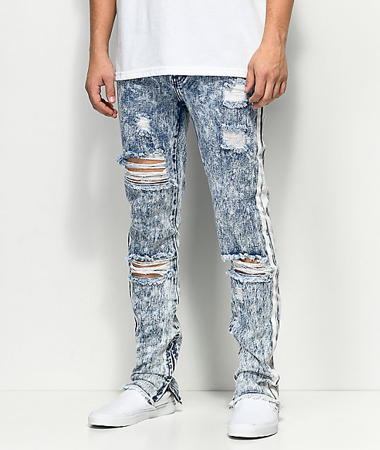 American Stitch Acid Wash Paint Stripe jeans en azul claro