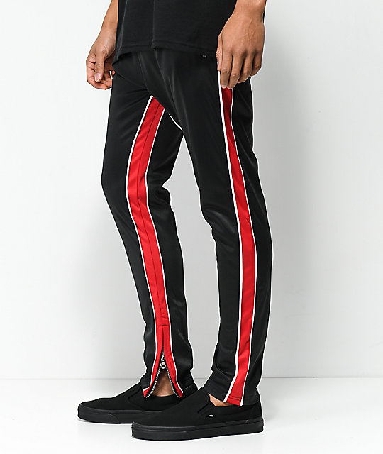 American Stitch Black & Red Double Stripe Track Pants