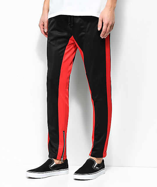 American Stitch Black & Red Tricot Track Pants