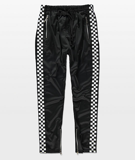 American Sch Black White Checkered Tricot Track Pants