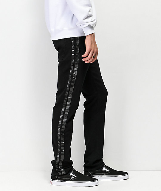 American Stitch Black Paint Striped Black Jeans