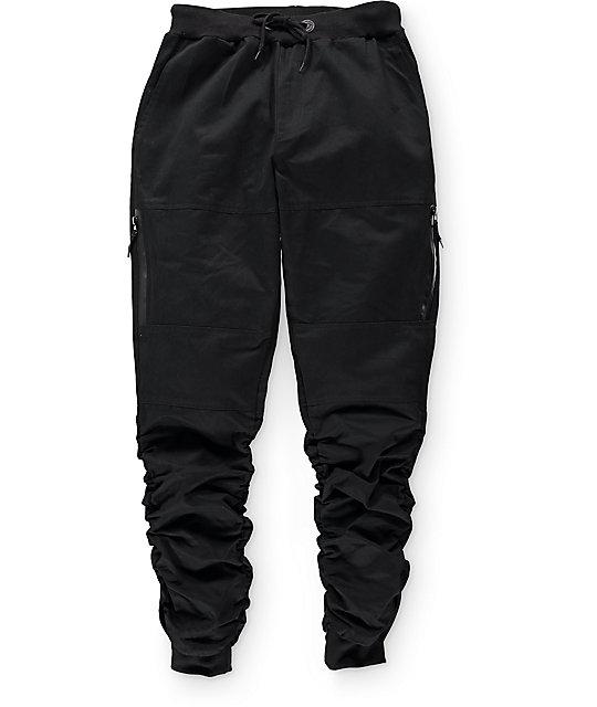 American Stitch Black Twill Zip Bungee Jogger Pants