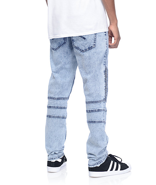 American Stitch Denim Collection Moto Blue Acid Washed Slim Fit Jeans